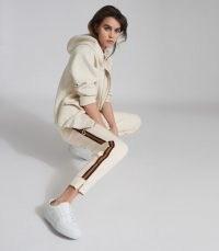 REISS DANICA SIDE STRIPE LOUNGEWEAR JOGGERS IVORY / stiped jogging bottoms / lounge wear pants
