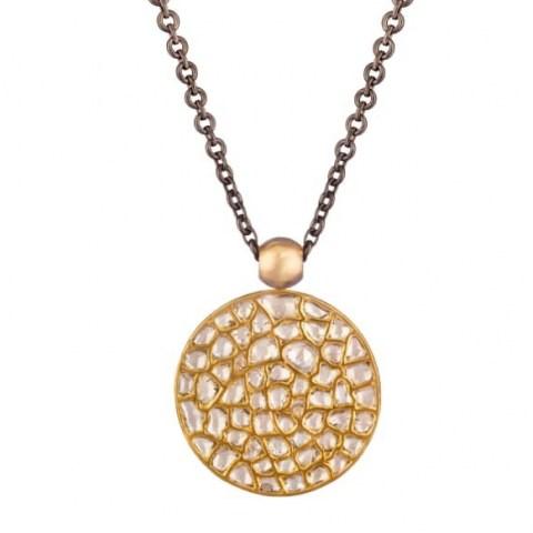Ouroboros Jewellery Dark Side Of The Moon Diamond & Gold Pendant ~ double sided pendants - flipped