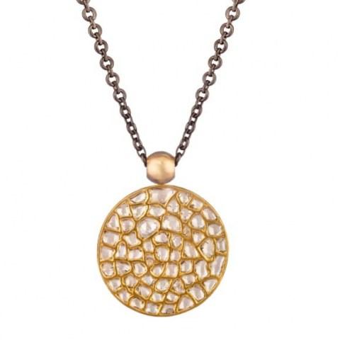 Ouroboros Jewellery Dark Side Of The Moon Diamond & Gold Pendant ~ double sided pendants