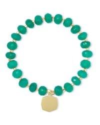 KENDRA SCOTT Davis 18k Gold Vermeil Beaded Bracelet In Green Onyx | bracelets | jewellery | jewelry