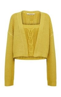 Dorothee Schumacher Delightful Match Wool Cable-Knit Twinset | yellow knitted twinsets