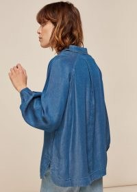 WHISTLES CHAMBRAY LONGLINE SHIRT / pull-over style shirts / lightweight denim