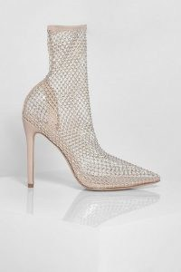 Diamante Mesh Pointed Toe Sock Boots ~ stiletto heel fishnet boot