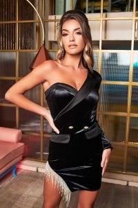 LAVISH ALICE diamante trim off shoulder velvet mini dress in black ~ asymmetric party dresses ~ evening glamour