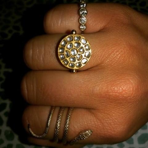 Ouroboros Jewellery Diamond & Gold Sun Ring | round celestial inspired rings - flipped