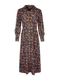 OLIVER BONAS Ditsy Floral Orange & Black Midi Shirt Dress / day dresses with collars