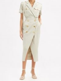 BALMAIN Double-breasted cotton-blend dress ~ chic utility dresses
