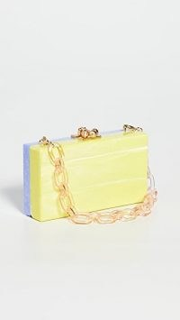 Edie Parker Beach Party Minaudiere in Iris Marble/Lime Marble / colour block box bags / small chain handle bags