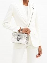 CHRISTIAN LOUBOUTIN Elisa mini leather cross-body bag ~ luxe metallic silver crossbody bags ~ luxury chain strap shoulder bags