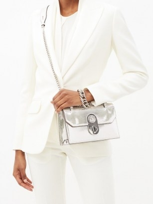 CHRISTIAN LOUBOUTIN Elisa mini leather cross-body bag ~ luxe metallic silver crossbody bags ~ luxury chain strap shoulder bags - flipped