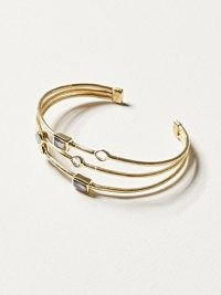 OLIVER BONAS Eliza Stone & Gold Plated Triple Row Cuff Bangle / embellished bangles / delicate cuffs