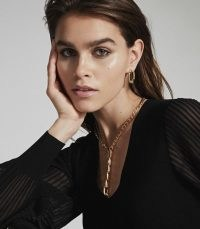 REISS ELLENA BRUSHED GOLD PLATED CHAIN NECKLACE GOLD ~ statement necklaces