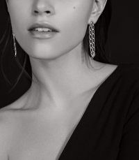 REISS ELLENA GOLD PLATED FINE LINK EARRINGS GOLD ~ long glamorous chain linked drops ~ effortless evening glamour