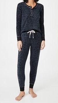 Emerson Road Leopard Long Sleeve Henley PJ Set ~ pyjama sets