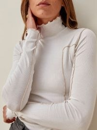 Reformation Era Top ~ ivory lettuce trim high neck tops ~ frill detail rib knit sweater