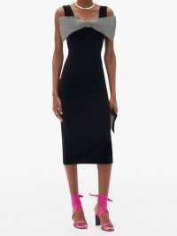 CHRISTOPHER KANE Exagerated-bow velvet midi dress ~ lbd with large crystal bow ~ glamorous evening dresses ~ party glamour