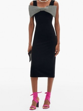 CHRISTOPHER KANE Exagerated-bow velvet midi dress ~ lbd with large crystal bow ~ glamorous evening dresses ~ party glamour - flipped