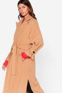 Faux Wool You Stay Awhile Belted Oversized Coat ~ camel open front tie waist coats