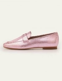 Boden Faye Loafers Plum Blossom Metallic Snake | high shine loafer