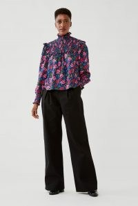 GHOST FIA BLOUSE Roses ~ floral print ruffled high neck blouses