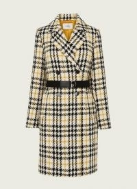 L.K. BENNETT FLORA CREAM CHECK DOUBLE BREASTED COAT / yellow checked coats