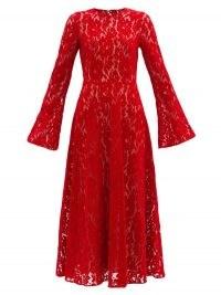 CHRISTOPHER KANE Red fluted-sleeve flocked-velvet lace dress