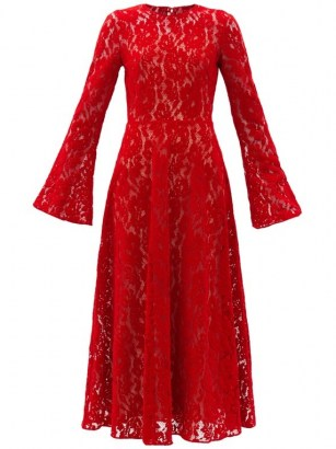 CHRISTOPHER KANE Red fluted-sleeve flocked-velvet lace dress - flipped