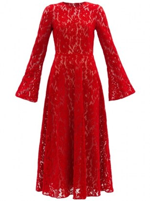 CHRISTOPHER KANE Red fluted-sleeve flocked-velvet lace dress