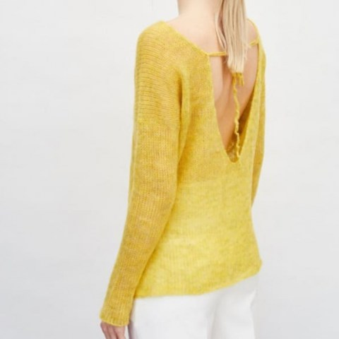 You by Tokarska Fog Blouse With A Necklline At The Back Yellow ~ bright open back jumper - flipped
