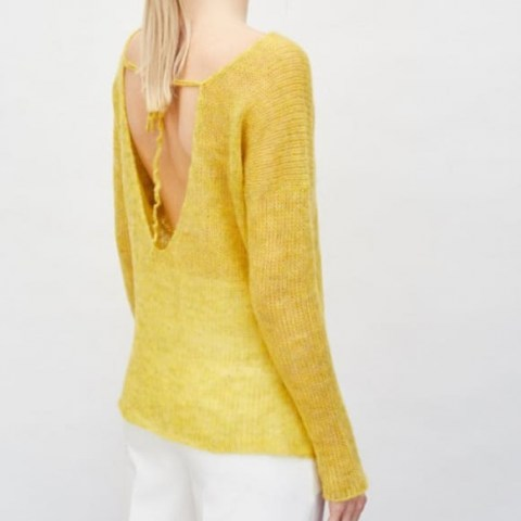 You by Tokarska Fog Blouse With A Necklline At The Back Yellow ~ bright open back jumper