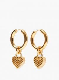 BALENCIAGA Force logo padlock-heart hoop earrings ~ hooped drops ~ hearts
