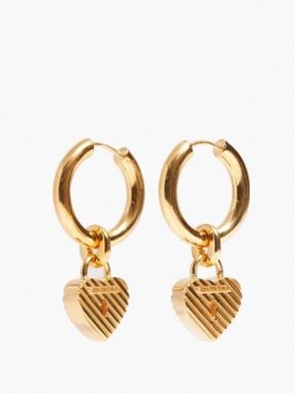 BALENCIAGA Force logo padlock-heart hoop earrings ~ hooped drops ~ hearts - flipped