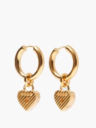 BALENCIAGA Force logo padlock-heart hoop earrings ~ hooped drops ~ hearts