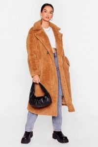 Fur Once in My Life Faux Fur Longline Coat ~ textured camel brown coats