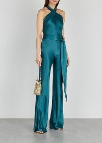 New In GALVAN Eve teal wide-leg satin jumpsuit ~ party glamour ~ glamorous evening jumpsuits ~ jewel tone occasion fashion