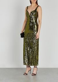 GALVAN Savannah olive sequin dress ~ glittering green plunge front occasion dresses