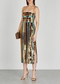 GALVAN Stargaze striped sequin midi dress ~ glamorous sequinned occasionwear ~ party glamour ~ luxe evening dresses