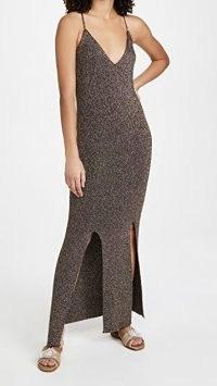 GANNI Glitter Knit Dress / shimmering skinny strap maxi dresses