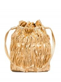 GANNI Gold Ruched Leather Mini Bag | luxe evening bags