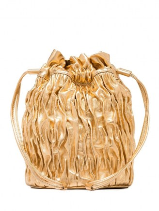 GANNI Gold Ruched Leather Mini Bag | luxe evening bags - flipped