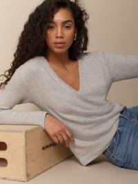Reformation Gen Top Heather Grey   casual V-neck tops   wardrobe essential
