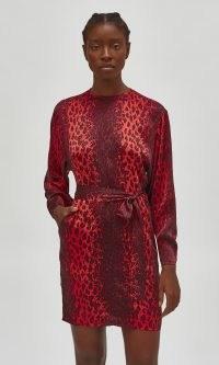 EQUIPMENT GERARDA SILK DRESS RUBY RAGE MULTI – red leopard print dresses
