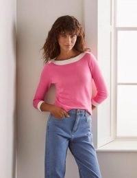 Boden Gloucester Cotton Jumper Azalea ~ bright pink boat neck jumpers