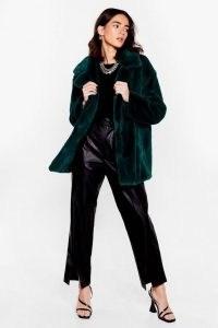 Go Faux Fur It Petite Oversized Coat ~ teal green winter coats
