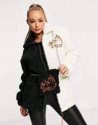 GOGUY oversized flame borg jacket in monochrome with matching bag / colour block textured jackets