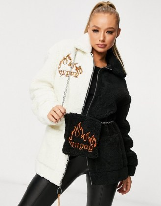 GOGUY oversized flame borg jacket in monochrome with matching bag / colour block textured jackets - flipped
