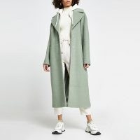 RIVER ISLAND Green hoody long line double breasted coat ~ coats with hoodies attached