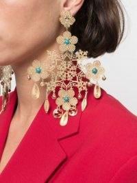 Gucci floral motif drop earrings / oversized statement jewellery