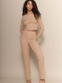Reformation Hailey Two Piece | ribbed trouser and crew neck top set | loungewear sets