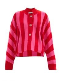 THE ATTICO Half-button striped merino-wool sweater ~ pink and red candy stripes ~ loose fit cardigans